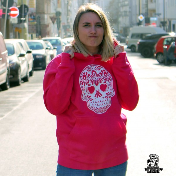 Hoodie - Bembel Skull Totenkopf Pink - Lady Damen Bembelranke