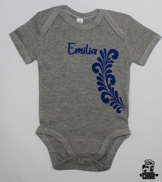 Baby Strampler Body mit Wunsch Name und Bembel Ranke